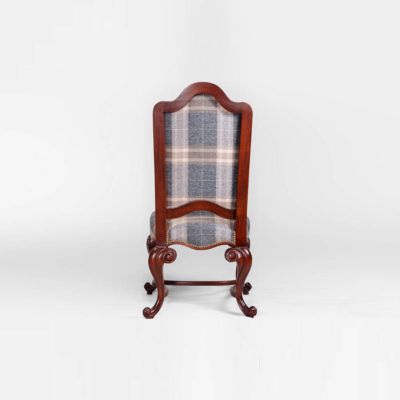 English Dining Chair with Upholstery Luxury Fabric Back