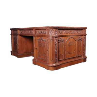 English Presidential Desk Antique Hand Carved Wood
