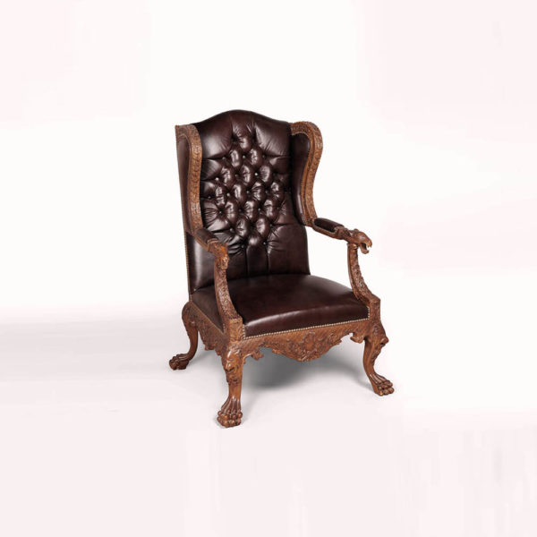 English Style Armchair Leather Antique Hand Carved