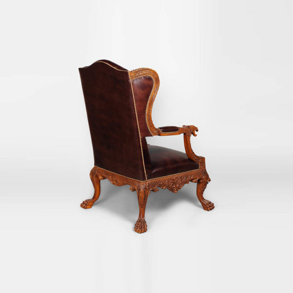 English Style Armchair Leather Antique Hand Carved Back View