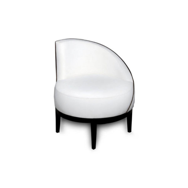 Francesco Round Upholstered Occasional Chair with Curved Back Front View