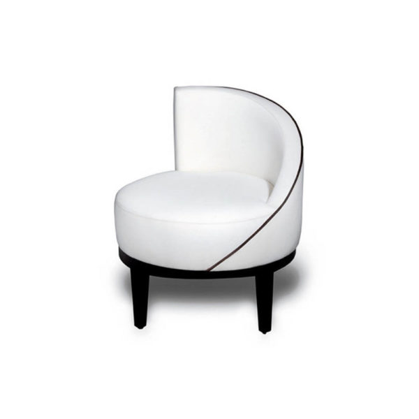 Francesco Round Upholstered Occasional Chair with Curved Back Side