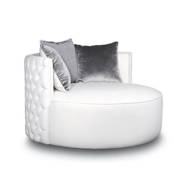 Frank Upholstered Round Button Tufted Accent Chair Side