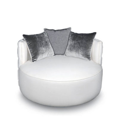 Frank Upholstered Round Button Tufted Accent Chair Top View