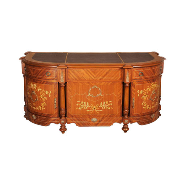French Antique Presidential Desk with Marquetry Veneer Inlay