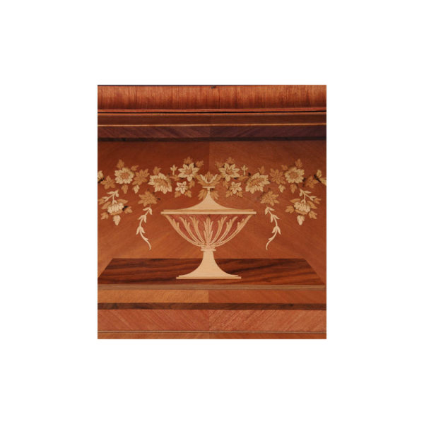 French Antique Secretary with Marquetry Veneer Inlay Details