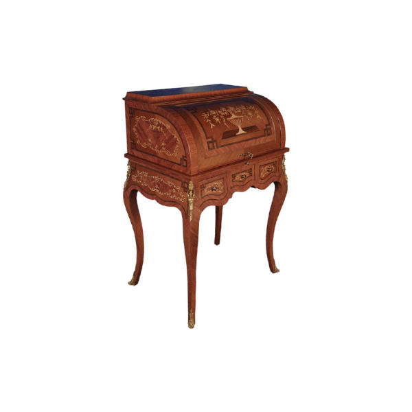 French Antique Secretary with Marquetry Veneer Inlay Side View