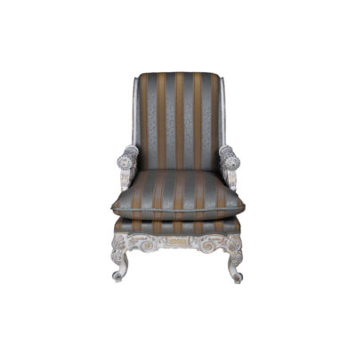 French Armchair with Hand Carved Detailed and Distressed Paint
