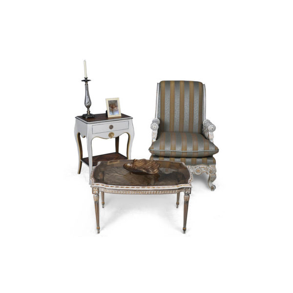 French Armchair with Hand Carved Detailed and Distressed Paint Coffee Table