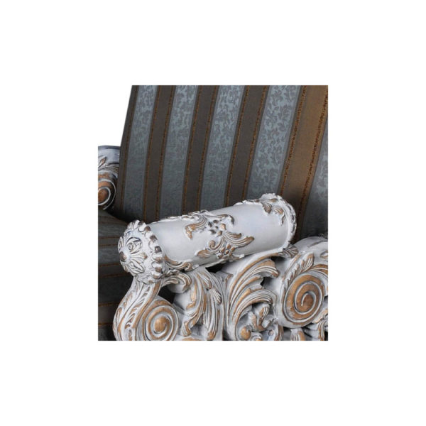 French Armchair with Hand Carved Detailed and Distressed Paint Handcraft