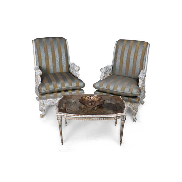 French Armchair with Hand Carved Detailed and Distressed Paint Set