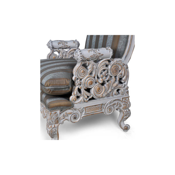 French Armchair with Hand Carved Detailed and Distressed Paint Side Details