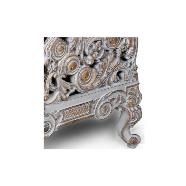 French Armchair with Hand Carved Detailed and Distressed Paint Wood Craft