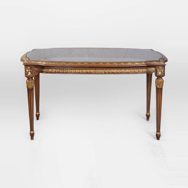 French Coffee Table Top Glass Detailed Hand Carved Wood Front