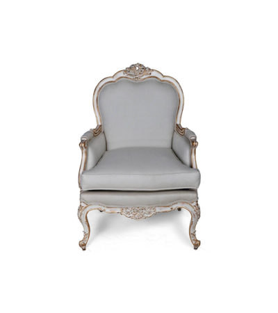 French Distressed Painted Armchair Front