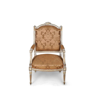 French Distressed Painted Armchair with Wooden Hand Carved and Luxury Upholstery Fabric A