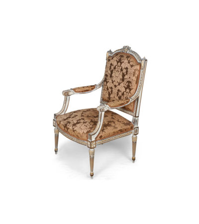 French Distressed Painted Armchair with Wooden Hand Carved and Luxury Upholstery Fabric Side