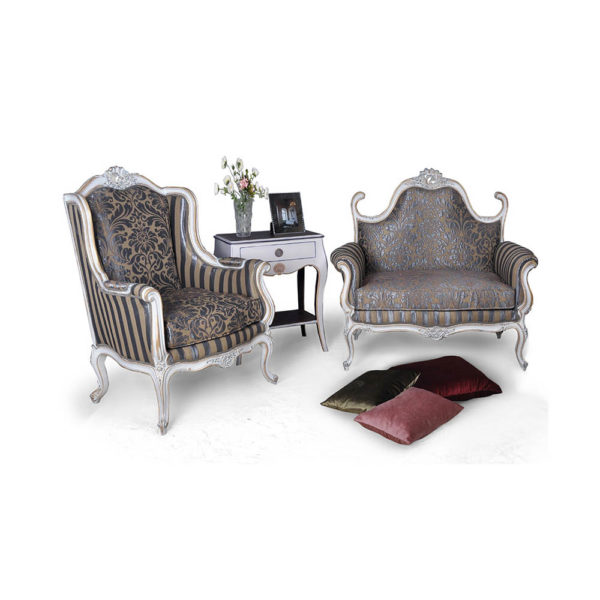 French Love Seat Armchair Side Table Grey Seating and Chairs