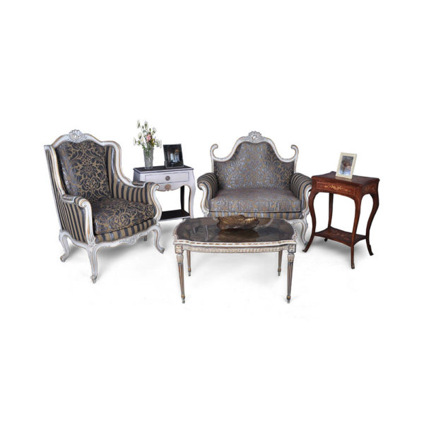 French Love Seat Armchair Table Grey Seating and Chairs