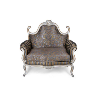 French Love Seat Grey Seating and Chairs Front View