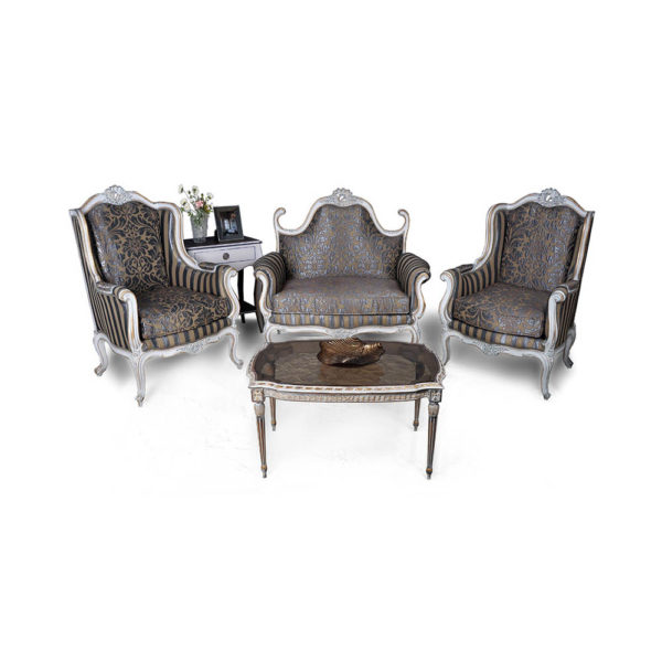 French Love Seat with 2 Armchairs Grey Seating and Chairs