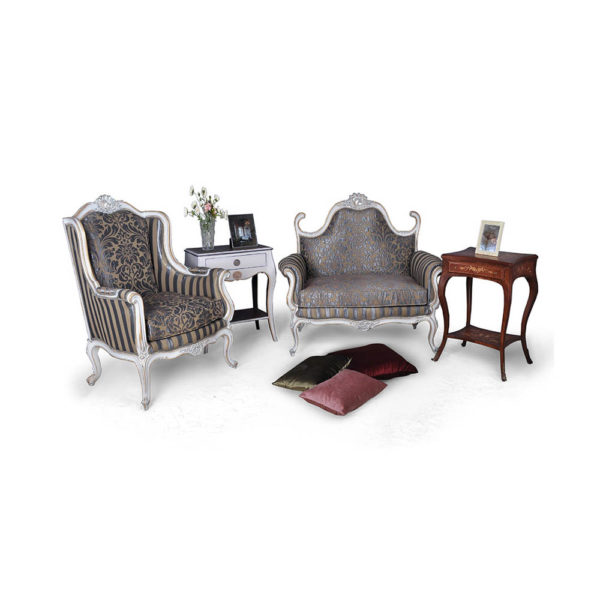 French Love Seat with Armchair Grey Seating and Chairs