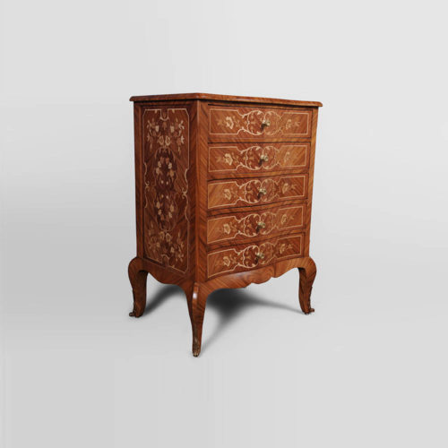 French Marquetry Chest of Drawers with Luxury Marquetry Natural Veneer Inlay Side