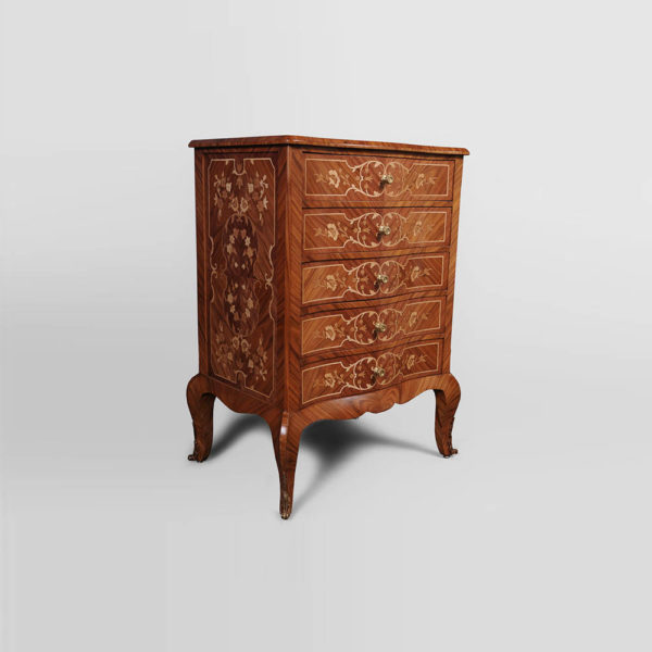 French Marquetry Chest of Drawers with Luxury Marquetry Natural Veneer Inlay Side B