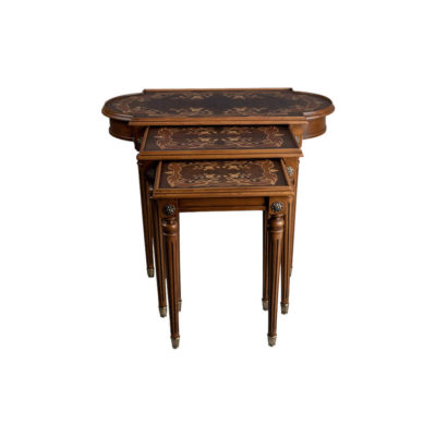 French Marquetry Nest Side Table Top View Dark