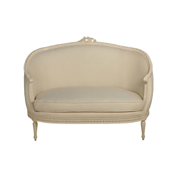 French Polished Sofa Side View with Cushions