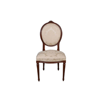French Style Dining Chair with Luxury Fabric Front View