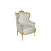 French Style Wing Back Armchair with Hand Carved Wood 1