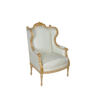 French Style Wing Back Armchair with Hand Carved Wood