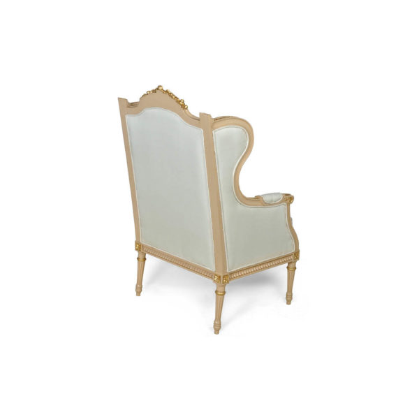 French Style Wing Back Armchair with Hand Carved Wood Back