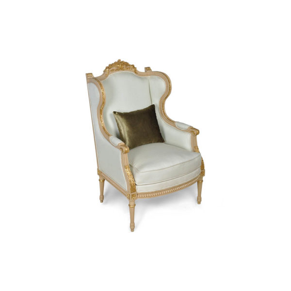 French Style Wing Back Armchair with Hand Carved Wood Cushion