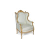 French Style Wing Back Armchair with Hand Carved Wood 2