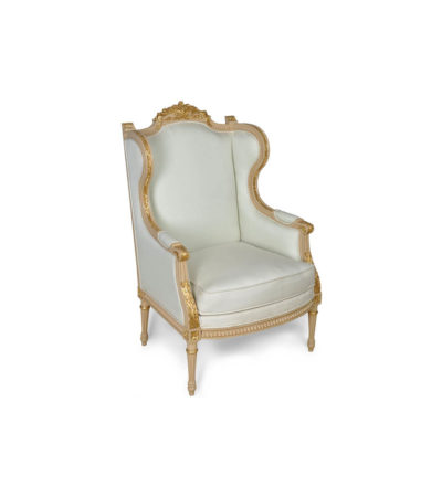 French Style Wing Back Armchair with Hand Carved Wood Details