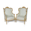 French Style Wing Back Armchair with Hand Carved Wood 3
