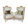 French Style Wing Back Armchair with Hand Carved Wood 4