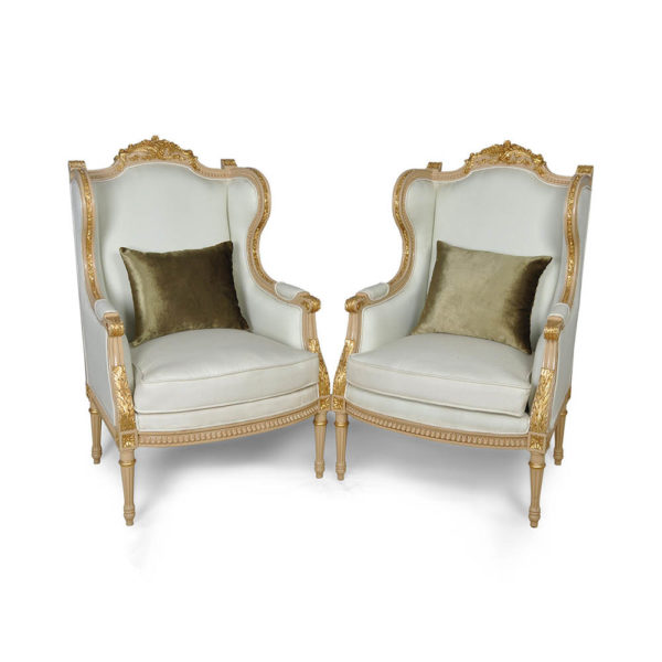French Style Wing Back Armchair with Hand Carved Wood Gold Set Cushion