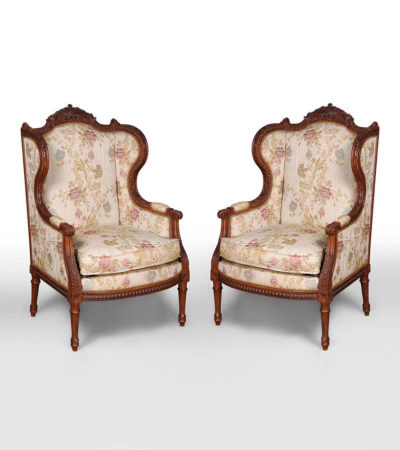 French Style Wing Back Armchair with Hand Carved Wood Set