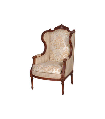 French Style Wing Back Armchair with Hand Carved Wood and Upholstery Luxury Fabric Brown A