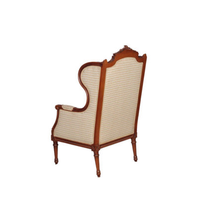 French Style Wing Back Armchair with Hand Carved Wood and Upholstery Luxury Fabric Brown Back