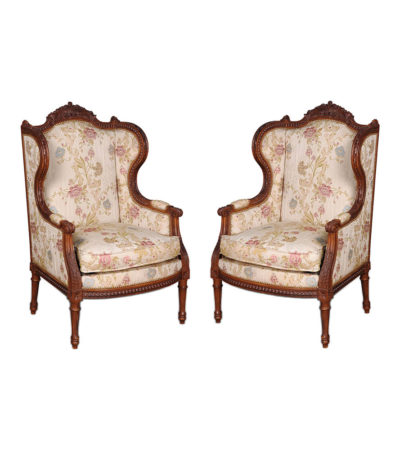 French Style Wing Back Armchair with Hand Carved Wood and Upholstery Luxury Fabric Set