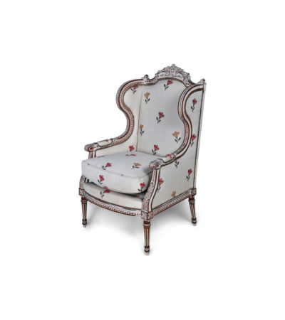 French Style Wing Back Chair Gray