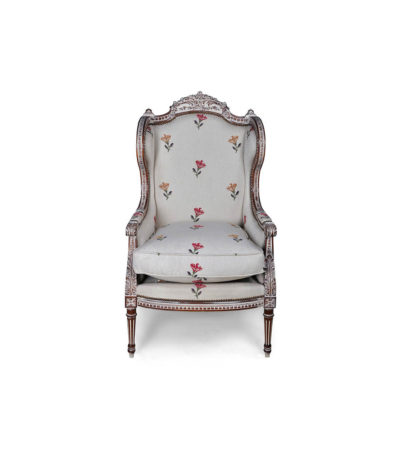 French Style Wing Back Chair Gray Detail