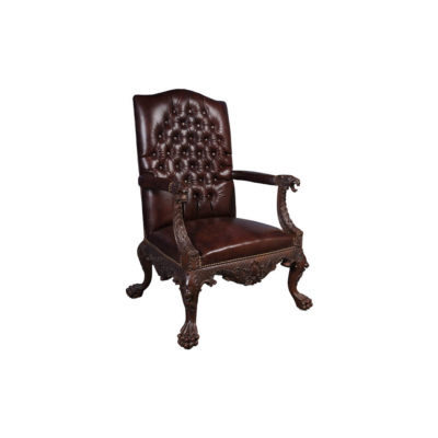 Genuine Lion Carved Arm Chair with Tufted Leather