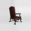 Genuine Lion Carved Arm Chair with Tufted Leather 2