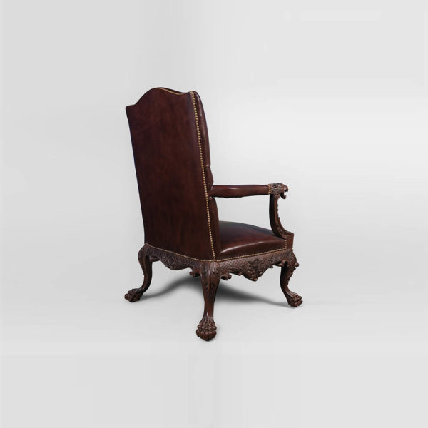 Genuine Lion Carved Arm Chair with Tufted Leather Back