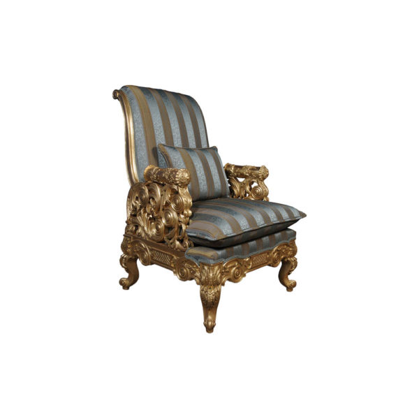 Gilded French Armchair with Hand Carved Wood and Luxury Upholstery